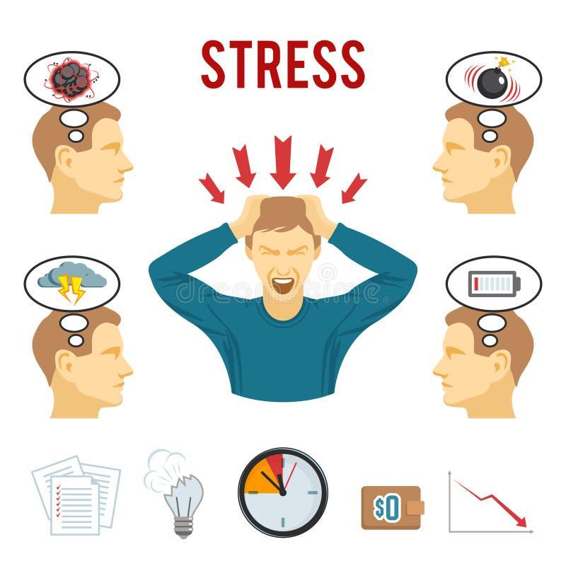 Zaburzenia psychiczne i stresu ikony ustawiać ilustracji
