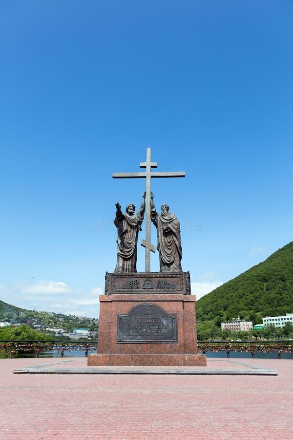 Zabytek Święci apostołowie Peter i Paul w petropavlovsk mieście obraz stock