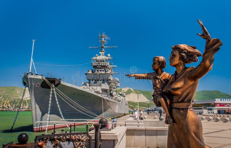Zabytek żeglarz żona Mikhail Kutuzov i krążownik zdjęcie royalty free