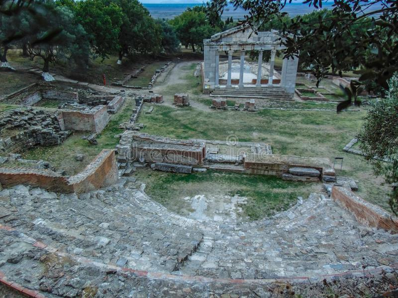 Zabytek Agonothetes i Odeon Apollonia obrazy royalty free