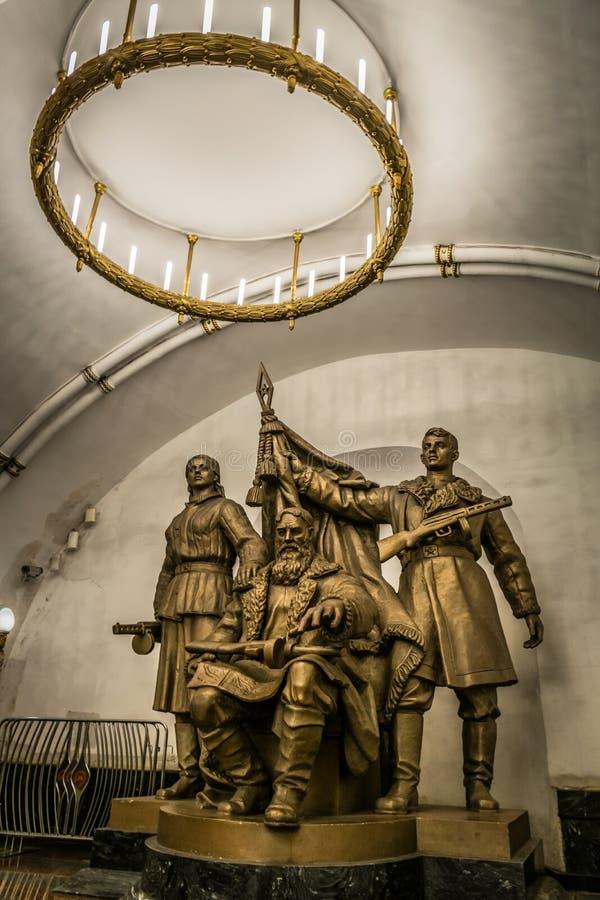 Zabytek Belarusian partyzany przy Belorusskaya stacją metrą w Moskwa, Rosja zdjęcia royalty free