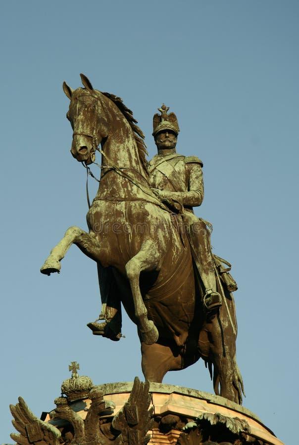 Zabytek cesarz Nicholas zbliżam świętego Isaac katedrę, St Petersburg, Rosja fotografia royalty free