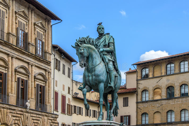 Zabytek Cosimo Ja Medici wewnątrz w piazza della Signoria w Florencja zdjęcie stock