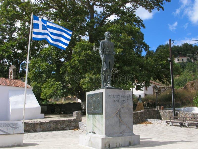 Zabytek Eleftherios Venizelos i grek flaga fotografia stock