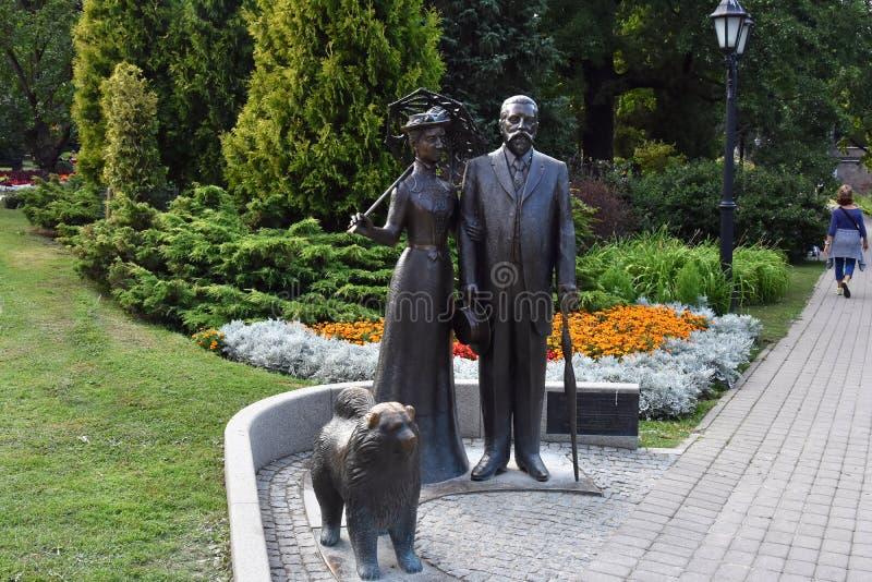 Zabytek George i Cecile Armitstead z chow chow psem obraz stock