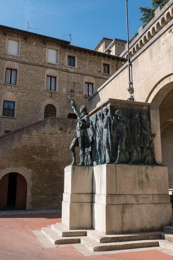 Zabytek Girolamo Gozi i obrońcy wolność 1739-1740 w San Marino obraz stock