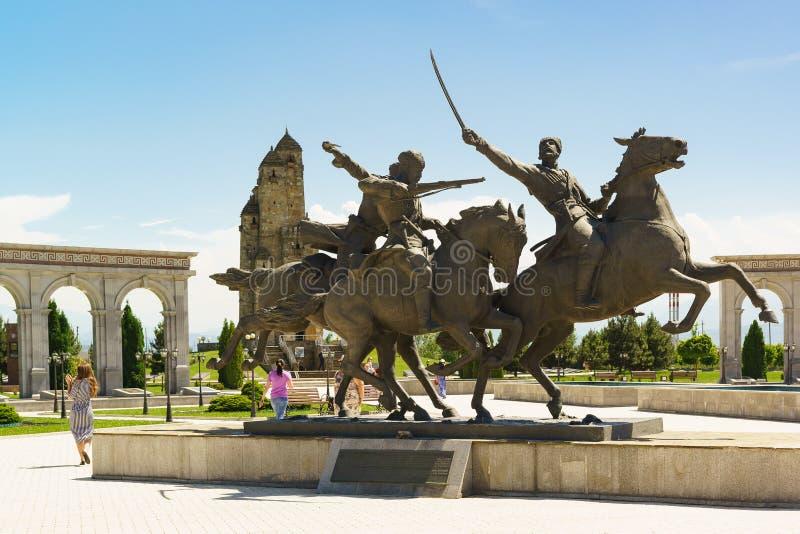 Zabytek Ingush pułk kawalerii Dziki podział, część Kaukaski rodzimy podział na terytorium Mem, zdjęcia royalty free