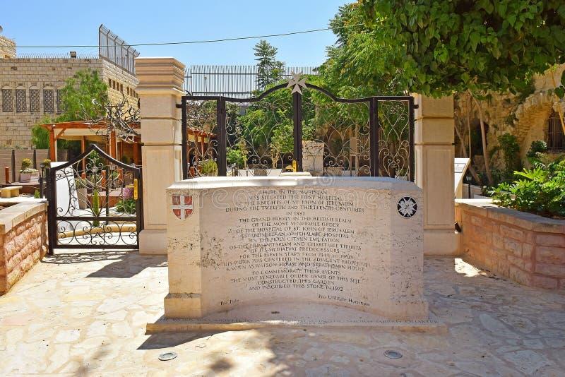 Zabytek który upamiętnia miejsce pierwszy krzyżowowie szpitale, Jerozolima fotografia royalty free