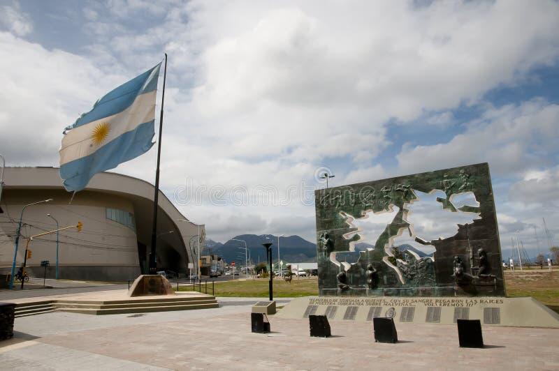 Zabytek Malvinas wysp bitwa Ushuaia, Argentyna - zdjęcie stock