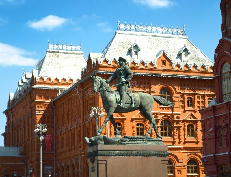 Zabytek marszałek Zhukov w Moskwa fotografia royalty free