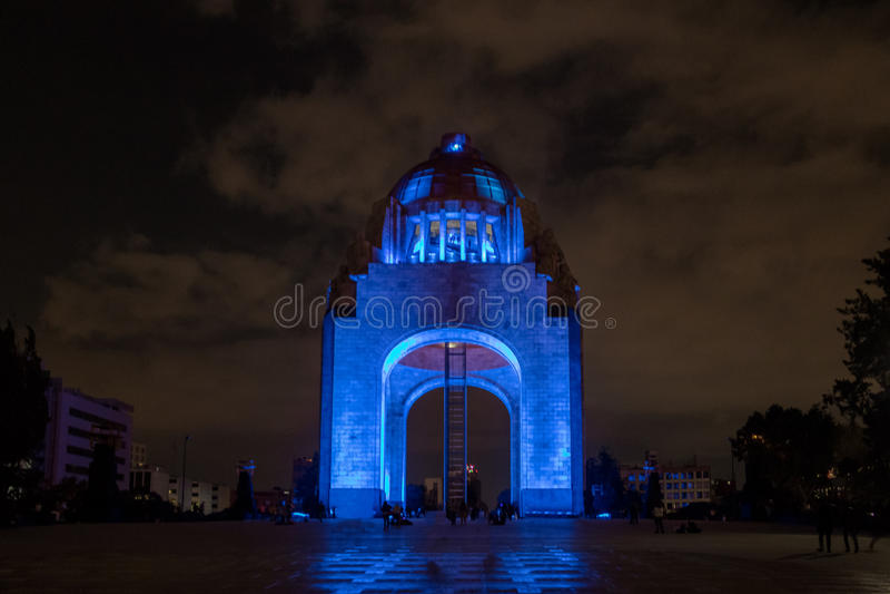 Zabytek Meksykańska rewolucja Monumento los angeles Revolucion przy nocą - Meksyk, Meksyk zdjęcie stock