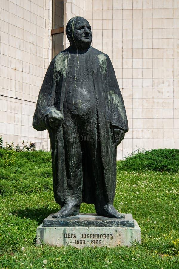 Zabytek Petar «Pera «Dobrinovic Był Serbskim dyrektorem i aktorem przy Serbskim teatrem narodowym w Novi Sad obraz royalty free