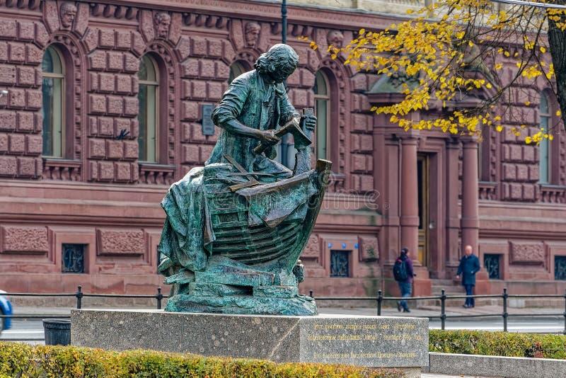 Zabytek Peter Wielki zwany Królewiątko cieśla - prezent miasto od królestwa holandie St Petersburg punkt zwrotny, zdjęcie royalty free