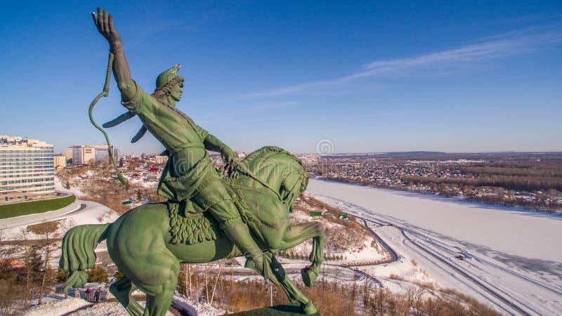 Zabytek Salavat Yulaev w Ufa przy zimy widok z lotu ptaka zdjęcia royalty free