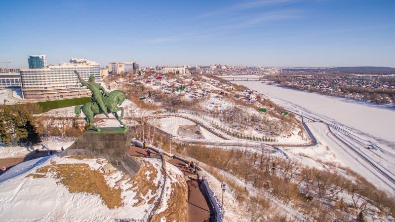 Zabytek Salavat Yulaev w Ufa przy zimy widok z lotu ptaka obraz royalty free