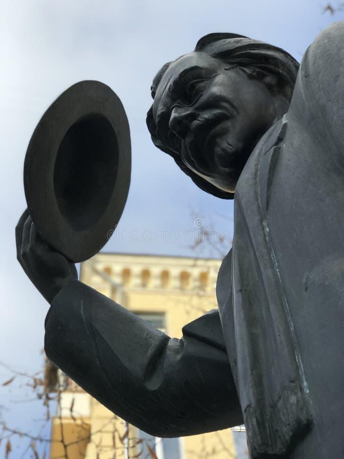 Zabytek Sholem Aleichem lub Solomon Naumovich Rabinovich w Kyiv, Ukraina fotografia royalty free