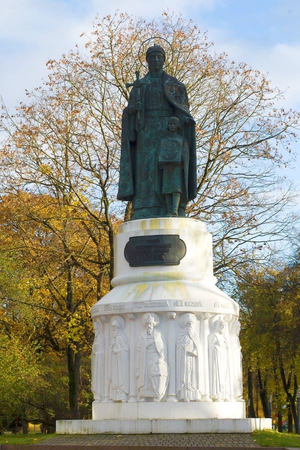 Zabytek uroczystego duchess Olga zakończenie up w Października popołudniu, Pskov obraz royalty free