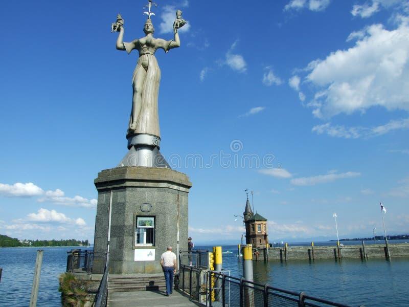 Zabytki zbliżają Jeziornego Bodensee w mieście Konstanz fotografia stock