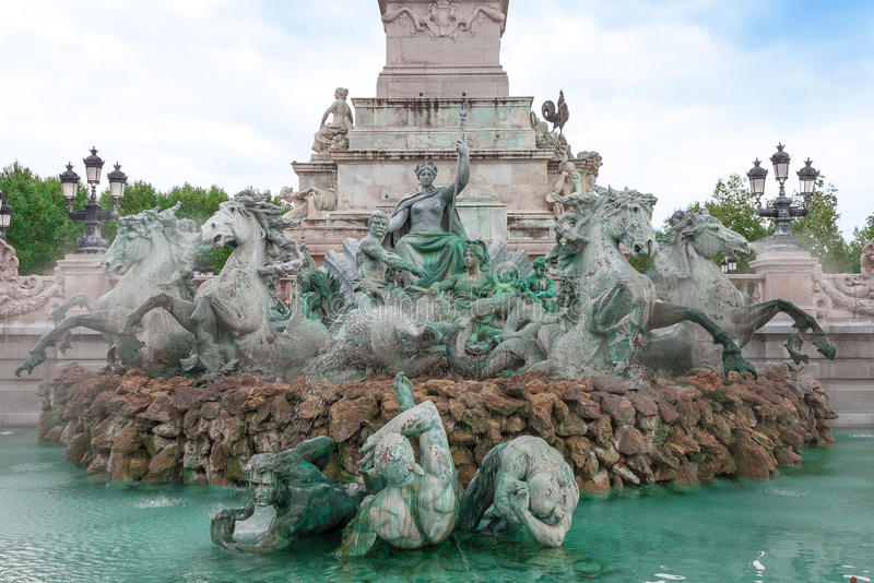 Zabytku des Girondins fontanna, bordowie, Francja fotografia stock