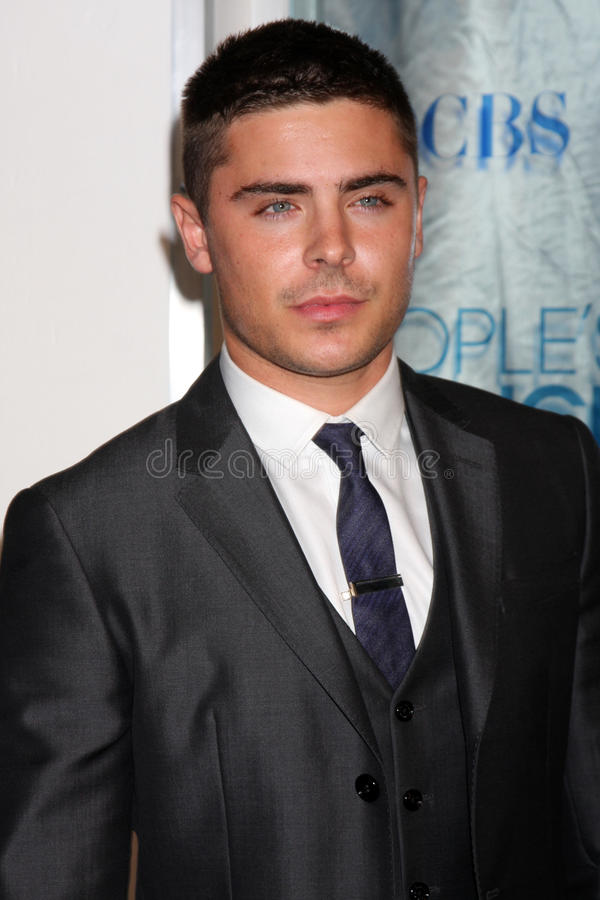 Zac Efron. LOS ANGELES - JAN 5: Zac Efron arrives at 2011 People's Choice Awards at Nokia Theater at LA Live on January 5, 2011 in Los Angeles, CA royalty free stock photography