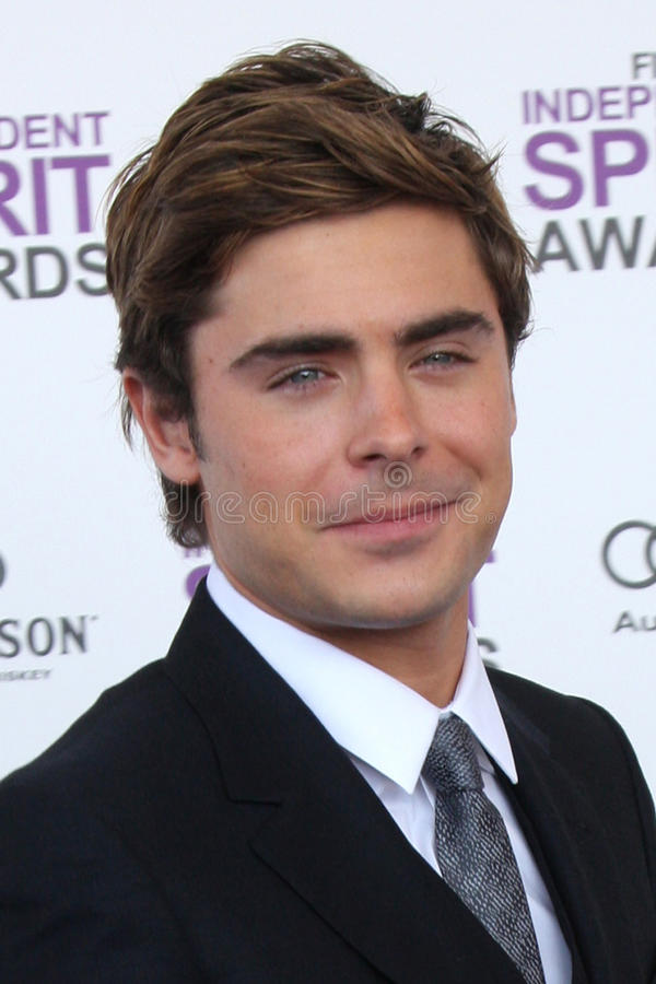 Zac Efron. LOS ANGELES - FEB 25: Zac Efron arrives at the 2012 Film Independent Spirit Awards at the Beach on February 25, 2012 in Santa Monica, CA stock images