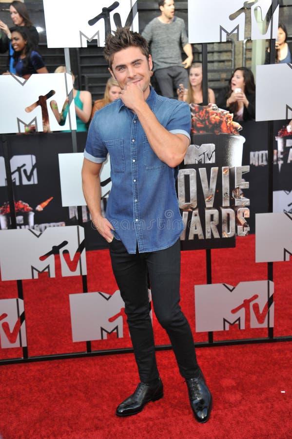 Zac Efron. LOS ANGELES, CA - APRIL 13, 2014: Zac Efron at the 2014 MTV Movie Awards at the Nokia Theatre LA Live royalty free stock photos