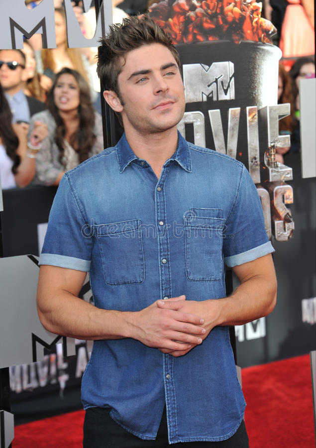 Zac Efron. LOS ANGELES, CA - APRIL 13, 2014: Zac Efron at the 2014 MTV Movie Awards at the Nokia Theatre LA Live stock image