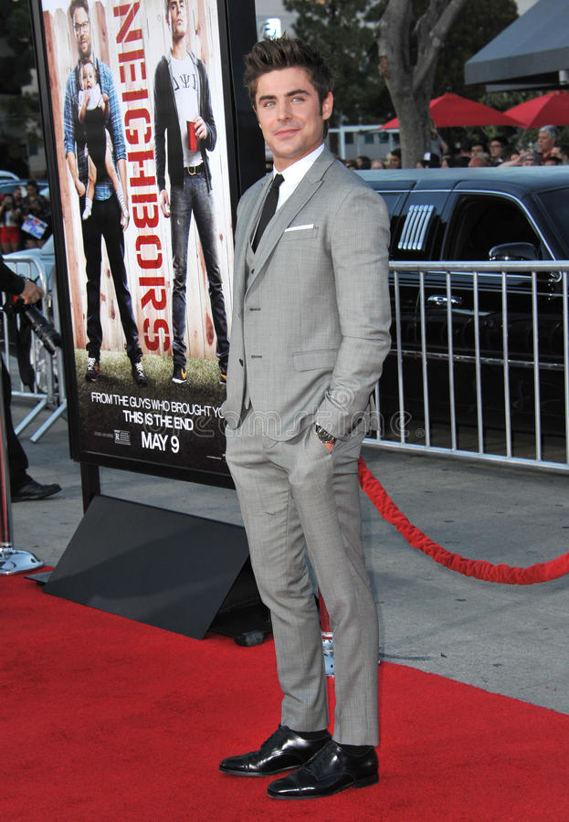 Zac Efron. LOS ANGELES, CA - APRIL 28, 2014: Zac Efron at the world premiere of his movie Neighbors at the Regency Village Theatre, Westwood stock photo