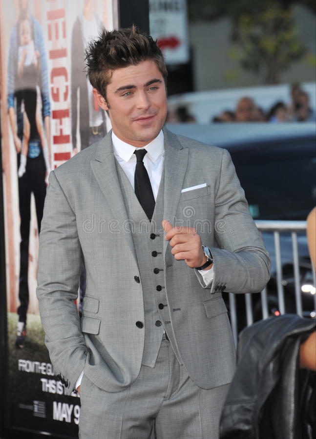 Zac Efron. LOS ANGELES, CA - APRIL 28, 2014: Zac Efron at the world premiere of his movie Neighbors at the Regency Village Theatre, Westwood stock photography