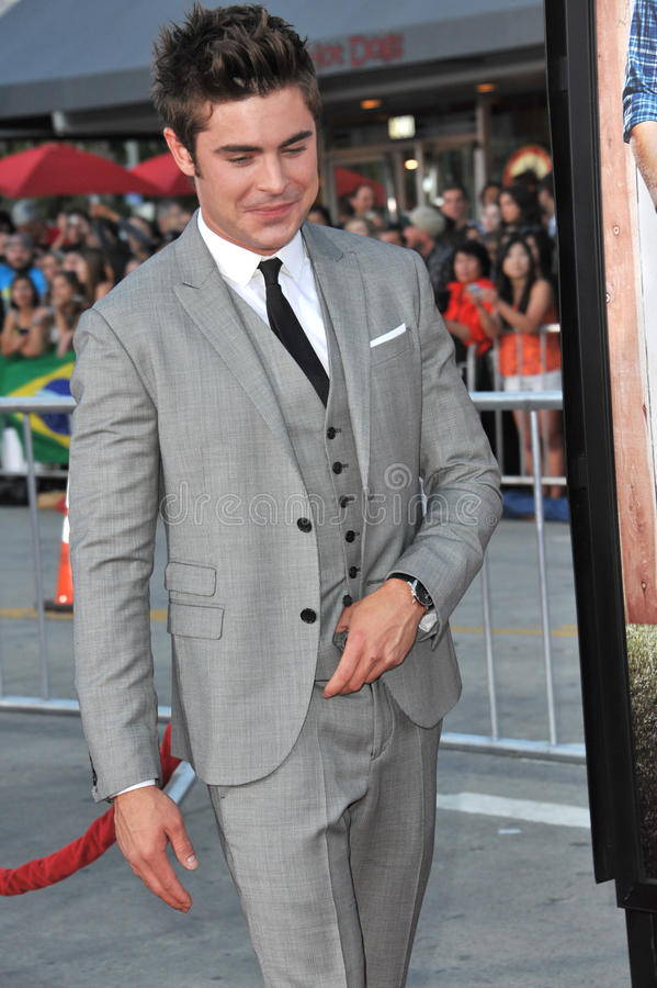 Zac Efron. LOS ANGELES, CA - APRIL 28, 2014: Zac Efron at the world premiere of his movie Neighbors at the Regency Village Theatre, Westwood stock photos