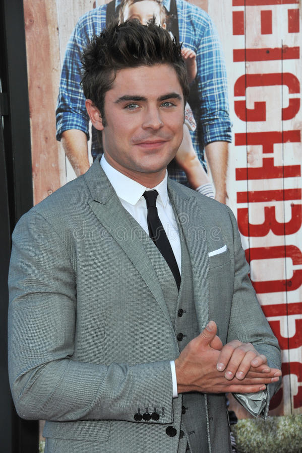 Zac Efron. LOS ANGELES, CA - APRIL 28, 2014: Zac Efron at the world premiere of his movie Neighbors at the Regency Village Theatre, Westwood royalty free stock image