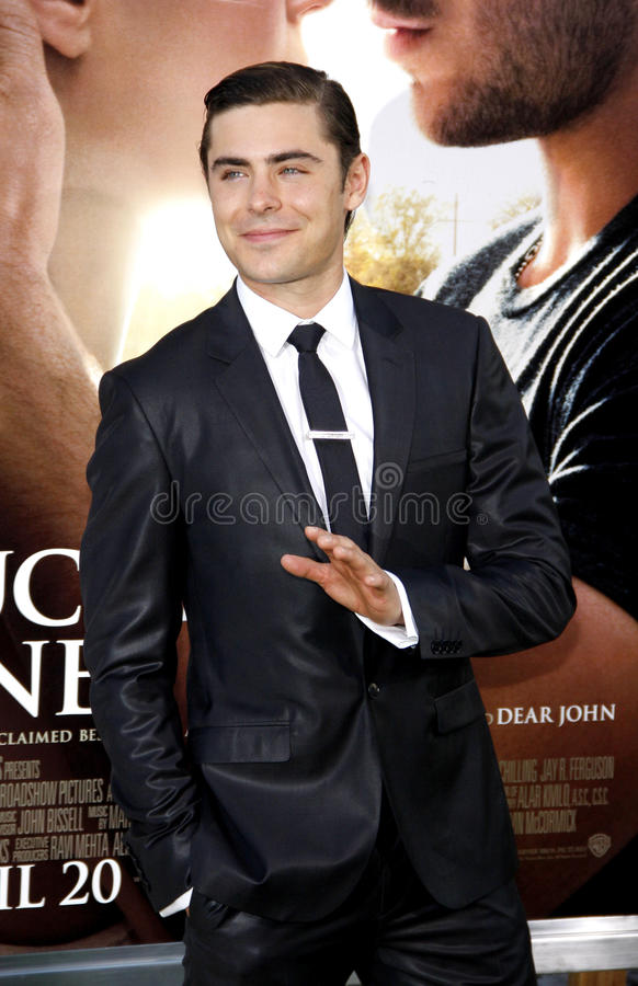 Zac Efron. UNITED STATES, HOLLYWOOD, APRIL 16, 2012: Zac Efron at the Los Angeles premiere of 'The Lucky One' held at the Grauman's Chinese Theater in Hollywood royalty free stock photos