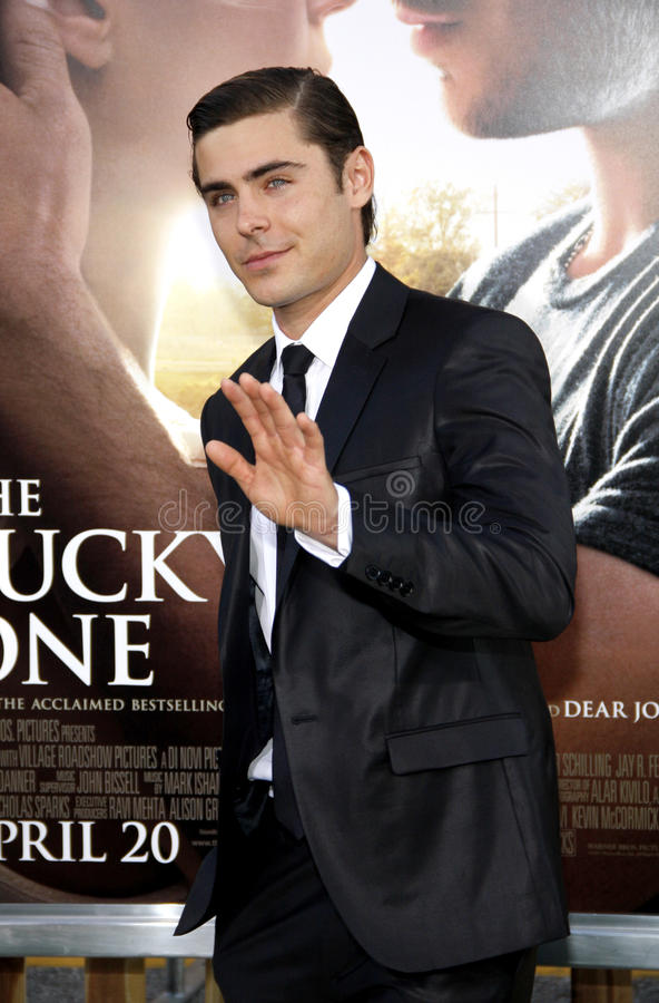 Zac Efron. UNITED STATES, HOLLYWOOD, APRIL 16, 2012: Zac Efron at the Los Angeles premiere of 'The Lucky One' held at the Grauman's Chinese Theater in Hollywood royalty free stock images