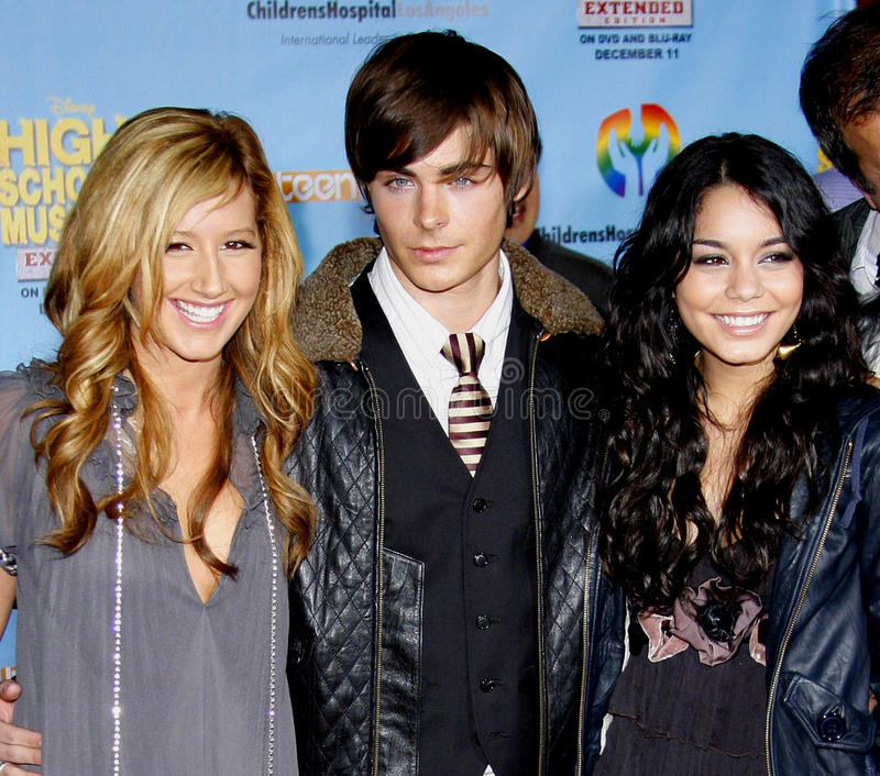 Zac Efron, Vanessa Hudgens i Ashley Tisdale, fotografia stock
