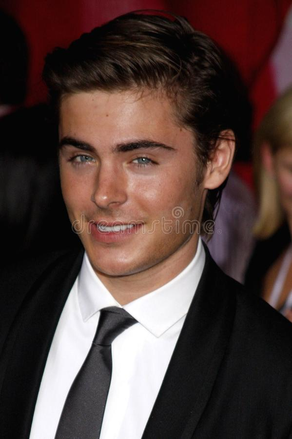 Zac Efron. At the Los Angeles premiere of `High School Musical 3: Senior Year` held at the Galen Center in Los Angeles, USA on October 16, 2008 royalty free stock photo