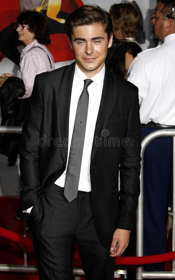 Zac Efron. At the Los Angeles premiere of `High School Musical 3: Senior Year` held at the Galen Center in Los Angeles, USA on October 16, 2008 stock images