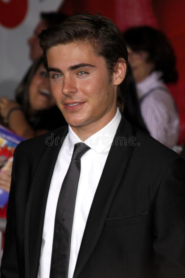 Zac Efron. At the Los Angeles premiere of `High School Musical 3: Senior Year` held at the Galen Center in Los Angeles, USA on October 16, 2008 royalty free stock images