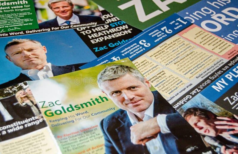 Zac Goldsmith by-election leaflets. RICHMOND-UPON-THAMES, UK - NOVEMBER 28, 2016: leaflets promoting the Independent candidate Zac Goldsmith in the Richmond Park stock photography