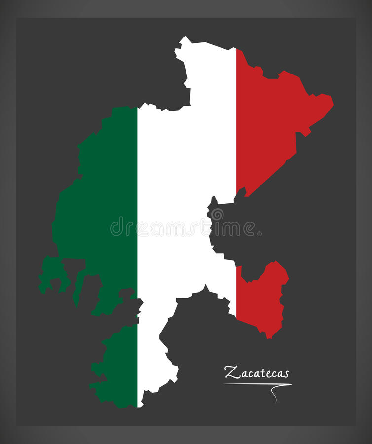 Zacatecas mapa z Meksykańską flaga państowowa ilustracją ilustracja wektor
