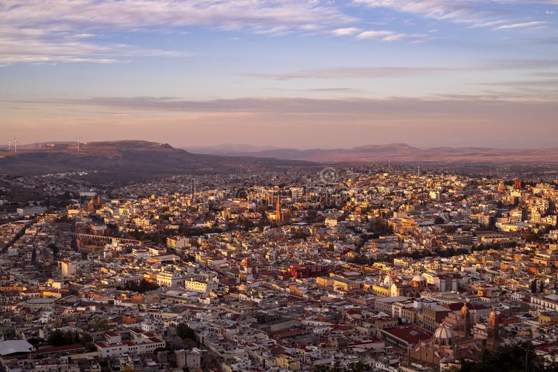 Aerial view of the colonial city of Zacatecas at sunset from La Bufa royalty free stock image