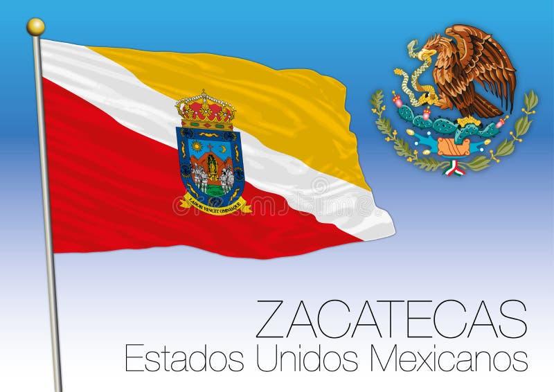 Zacatecas regionalności flaga, Zlani Meksykańscy stany, Mexic ilustracji