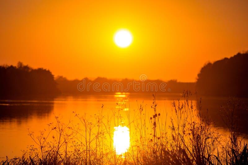 zachód słońca nad rzeką Spokojny wieczór rzeką, krajobraz w pomarańczowym shades_ zdjęcie royalty free