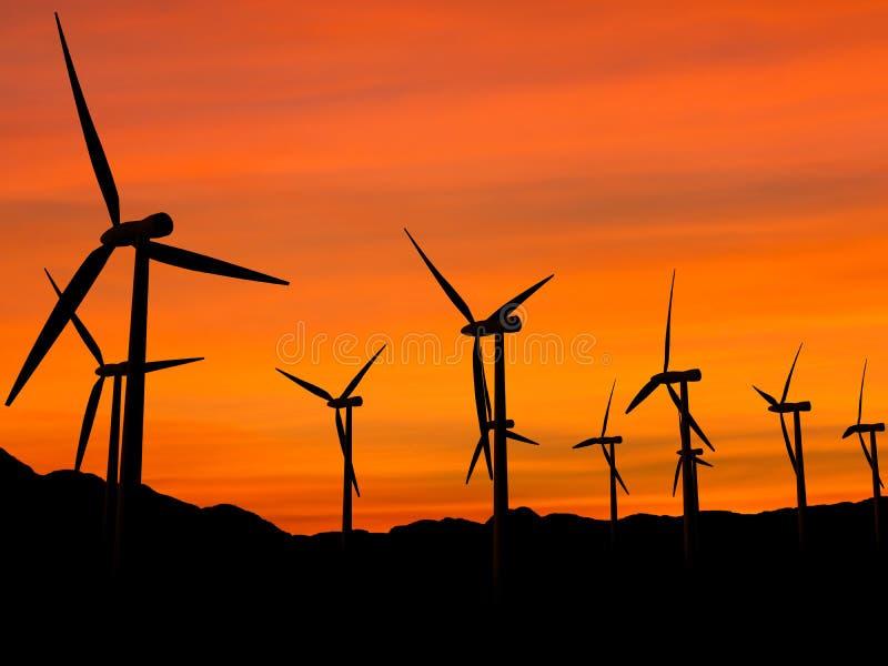 zachód słońca 2 turbiny wiatr royalty ilustracja