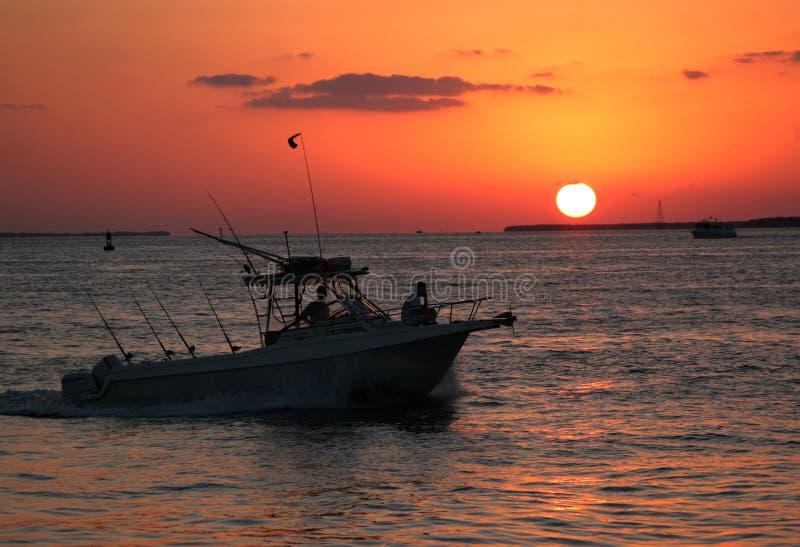 zachód słońca na łodzi fotografia royalty free
