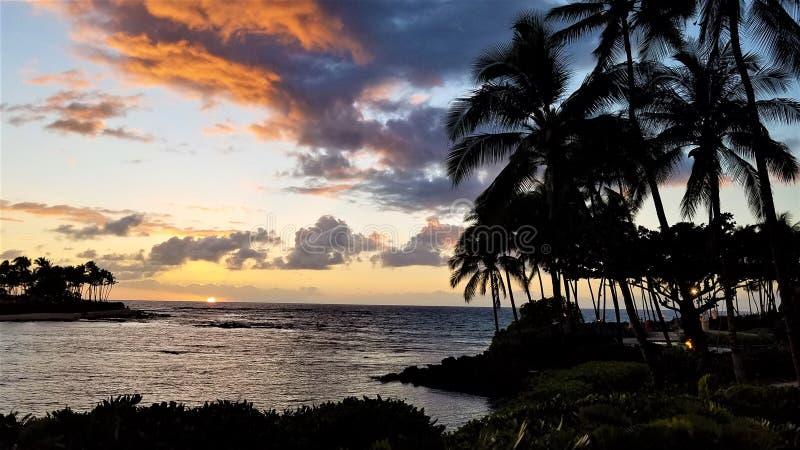 Zachód słońca na Hawajach zdjęcia stock