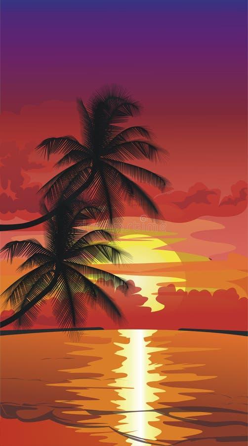 zachód słońca na plaży ilustracji