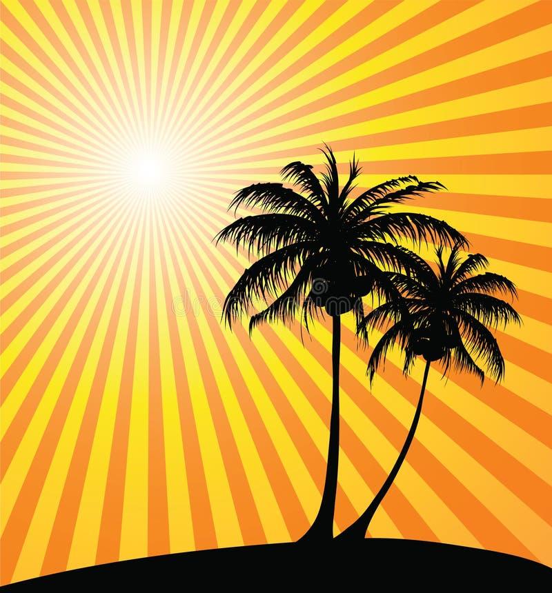 zachód słońca na plaży royalty ilustracja