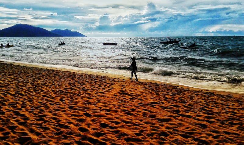 Zachód słońca na plaży Batu Firangi zdjęcie royalty free