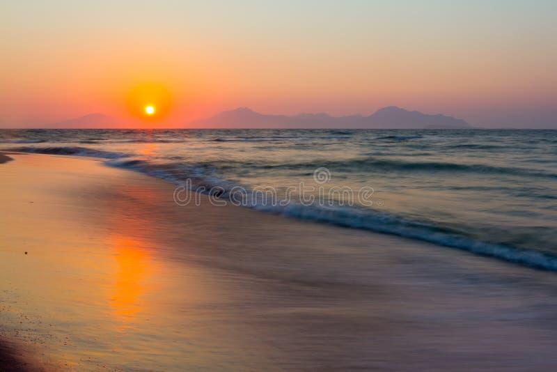 zachód słońca na plaży Kos, Grecja obrazy royalty free