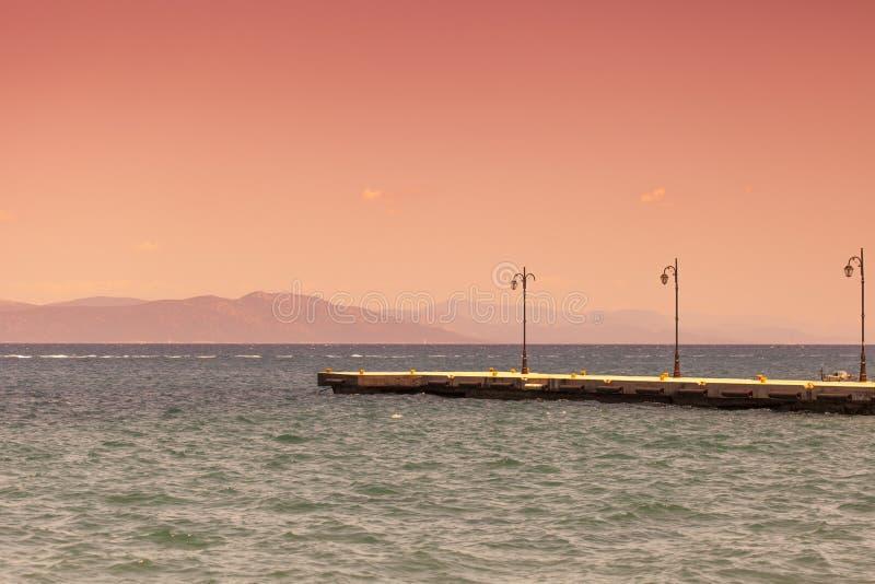 zachód słońca na plaży Kos, Grecja zdjęcie stock